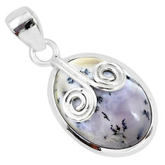 11.73cts natural white dendrite opal (merlinite) 925 silver pendant r94369