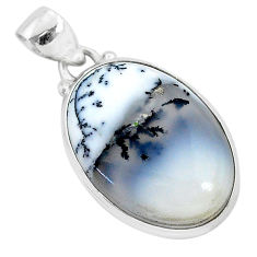 14.72cts natural white dendrite opal (merlinite) 925 silver pendant r94739