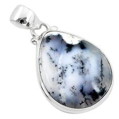 15.08cts natural white dendrite opal (merlinite) 925 silver pendant r94748