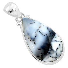 13.70cts natural white dendrite opal (merlinite) 925 silver pendant r94751