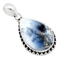 15.08cts natural white dendrite opal (merlinite) 925 silver pendant t10621
