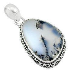 16.65cts natural white dendrite opal (merlinite) 925 silver pendant t10622