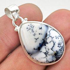 13.70cts natural white dendrite opal (merlinite) 925 silver pendant t38548