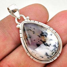 14.57cts natural white dendrite opal (merlinite) 925 silver pendant t38760
