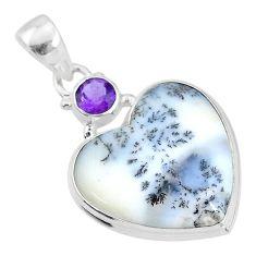 13.15cts natural white dendrite opal (merlinite) 925 silver pendant t4122