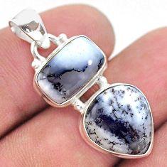 10.30cts natural white dendrite opal (merlinite) 925 silver pendant t42001