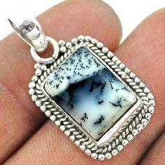 6.33cts natural white dendrite opal (merlinite) 925 silver pendant t56011