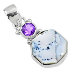 7.42cts natural white dendrite opal (merlinite) amethyst silver pendant r73138