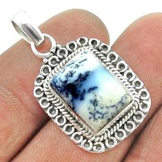 6.84cts natural white dendrite opal (merlinite) octagan silver pendant t56009
