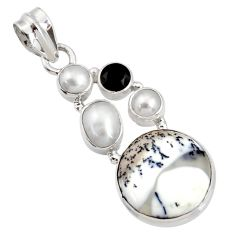Clearance Sale- 15.53cts natural white dendrite opal (merlinite) onyx 925 silver pendant d44155