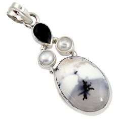 16.18cts natural white dendrite opal (merlinite) onyx 925 silver pendant d44158