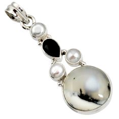 16.06cts natural white dendrite opal (merlinite) onyx 925 silver pendant d44159
