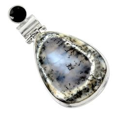 27.55cts natural white dendrite opal (merlinite) onyx 925 silver pendant r30523