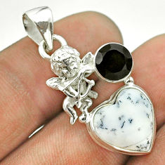 7.33cts natural white dendrite opal (merlinite) onyx silver angel pendant t55345