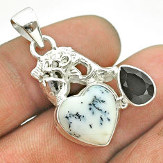 8.42cts natural white dendrite opal (merlinite) onyx silver fish pendant t55350