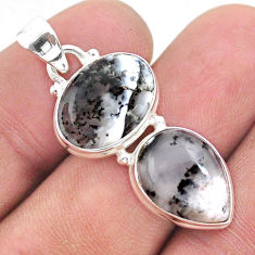 11.07cts natural white dendrite opal (merlinite) oval 925 silver pendant t42040