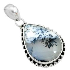 15.08cts natural white dendrite opal (merlinite) pear 925 silver pendant t10634