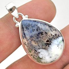 16.18cts natural white dendrite opal (merlinite) pear 925 silver pendant t38550