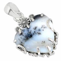 15.36cts natural white dendrite opal (merlinite) silver flower pendant r77845