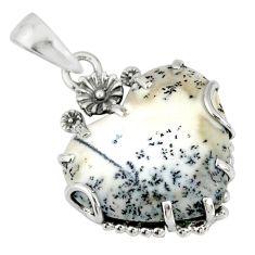 14.20cts natural white dendrite opal (merlinite) silver flower pendant r77847