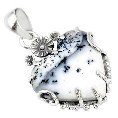 15.85cts natural white dendrite opal (merlinite) silver flower pendant r77857