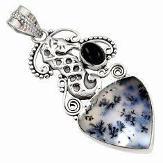 13.15cts natural white dendrite opal (merlinite) silver seahorse pendant d42353