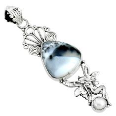12.83cts natural white dendrite opal 925 silver angel wings fairy pendant t10673
