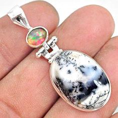 12.58cts natural white dendrite opal ethiopian opal 925 silver pendant r87628