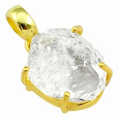 11.05cts natural white herkimer diamond 925 silver 14k gold pendant t49563