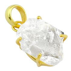 14.77cts natural white herkimer diamond 925 silver 14k gold pendant t49578