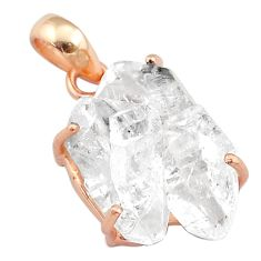 14.27cts natural white herkimer diamond 925 silver 14k rose gold pendant t49549