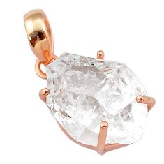 12.71cts natural white herkimer diamond 925 silver 14k rose gold pendant t49554