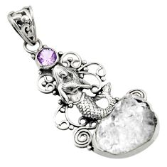 16.17cts natural white herkimer diamond 925 silver fairy mermaid pendant d44962