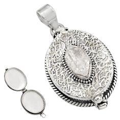 5.51cts natural white herkimer diamond 925 silver poison box pendant r30623