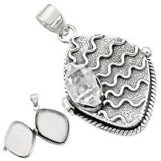 4.59cts natural white herkimer diamond 925 silver poison box pendant r30631
