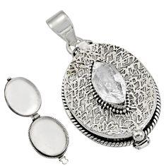 6.53cts natural white herkimer diamond 925 silver poison box pendant r30669