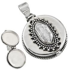 6.19cts natural white herkimer diamond 925 silver poison box pendant r30672