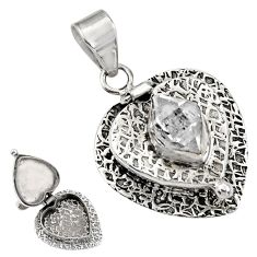 5.24cts natural white herkimer diamond 925 silver poison box pendant r30725