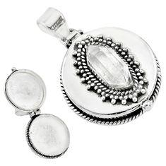 5.74cts natural white herkimer diamond 925 silver poison box pendant t10588