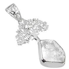 6.51cts natural white herkimer diamond 925 silver tree of life pendant r56869