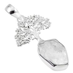 7.04cts natural white herkimer diamond 925 silver tree of life pendant r56870