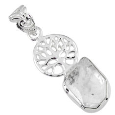 5.95cts natural white herkimer diamond 925 silver tree of life pendant r56871
