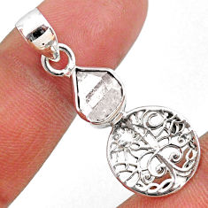 4.53cts natural white herkimer diamond 925 silver tree of life pendant r61378