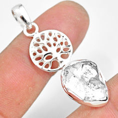7.22cts natural white herkimer diamond 925 silver tree of life pendant r80945