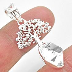 5.63cts natural white herkimer diamond 925 silver tree of life pendant t29712