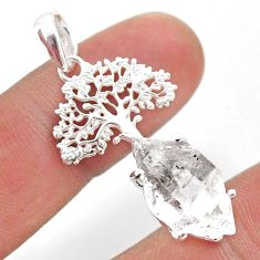7.36cts natural white herkimer diamond 925 silver tree of life pendant t49044