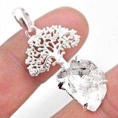 6.84cts natural white herkimer diamond 925 silver tree of life pendant t49045