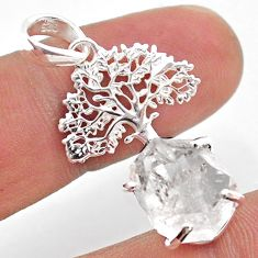 6.82cts natural white herkimer diamond 925 silver tree of life pendant t49049