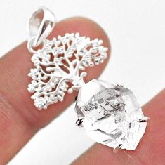 7.12cts natural white herkimer diamond 925 silver tree of life pendant t49051