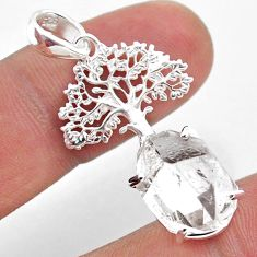 6.33cts natural white herkimer diamond 925 silver tree of life pendant t49055